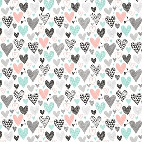 Hearts Geometrical Love Valentine Black&White Mint Peach Tiny Small 0,75 inch