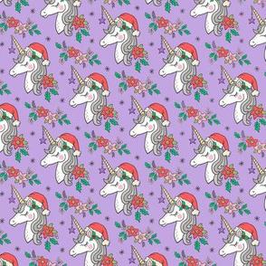 Christmas Unicorn on Purple Smaller 2 inch