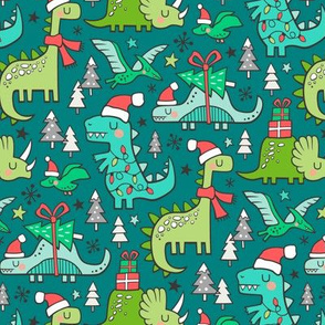 Christmas Holidays Dinosaurs & Trees on Teal Smaller