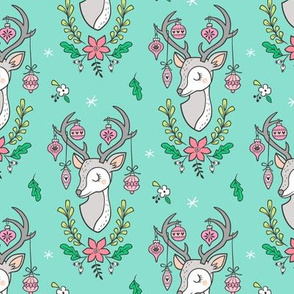 Christmas Deer Head with Ornaments & Floral on Mint Green Smaller