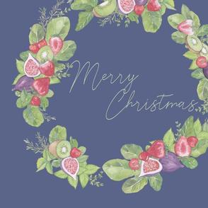 Christmas Wreath green on blue