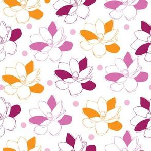 Magnolia Garden-Flowers in Bloom Repeat Pattern. Pattern Background.