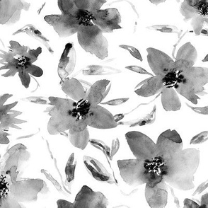 Watercolor florals in shades of grey || black and white flowers for home decor