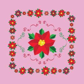 Poinsetta Throw  Pillow Pink