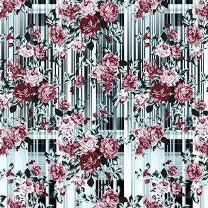 Flower Striped Roses Bouquet Plaid Background