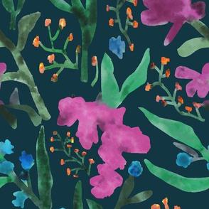Fuchsia Floral Dark
