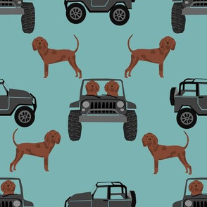 Redbone Coonhound adventure dog fabric - dog fabric, dogs and cars fabric, car fabric,
