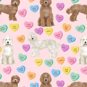 Cute Valentines Day Labradoodle Dog Hearts fabric - labradoodle fabric, valentines day dog fabric, dog fabric, labradoodles, cute dogs - pink