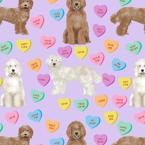 Cute Valentines Day Labradoodle Dog Hearts fabric - labradoodle fabric, valentines day dog fabric, dog fabric, labradoodles, cute dogs - purple