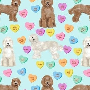 Cute Valentines Day Labradoodle Dog Hearts fabric - labradoodle fabric, valentines day dog fabric, dog fabric, labradoodles, cute dogs - blue
