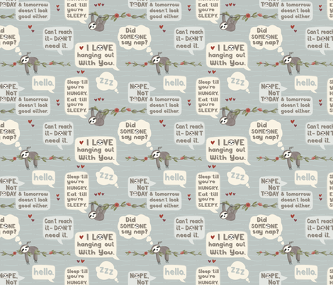 What Does the Sloth Say? Small scale fabric by jennifer_todd on Spoonflower - custom fabric
