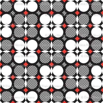 Check black & white flower red spots
