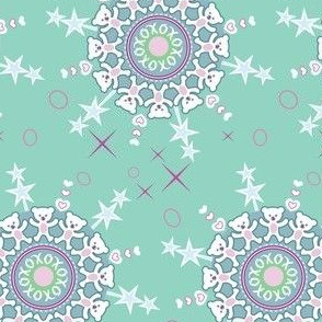 Teddy Bear Snowflakes Mint