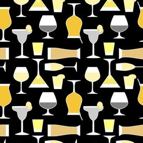 Bar Drinks in Gold and Black