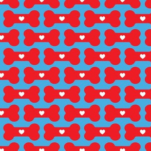 dog treats - red on blue - valentine's day