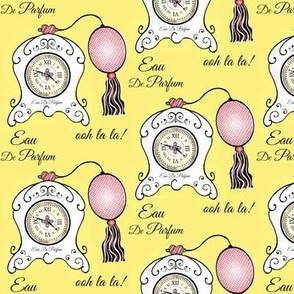 Très Féminin / Vintage Clock  Perfume Bottle / Yellow & Pink