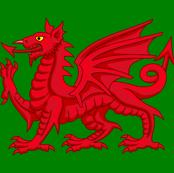 welsh dragon on green