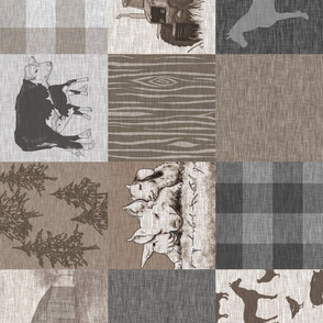 Old Farm Quilt 12sq - Soft Brown And grey - rotated