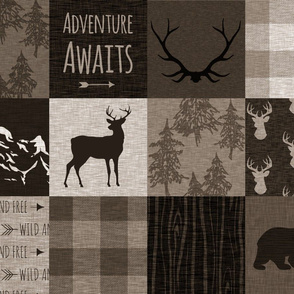Adventure Awaits Quilt - Brown And Beige - mountains and woodland animals
