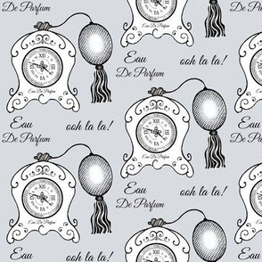 Très Féminin / Vintage Clock  Perfume Bottle / Grey
