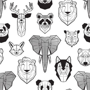 Friendly Geometric Animals // small scale // white background black and white deers bears foxes wolves elephants raccoons lions owls and pandas