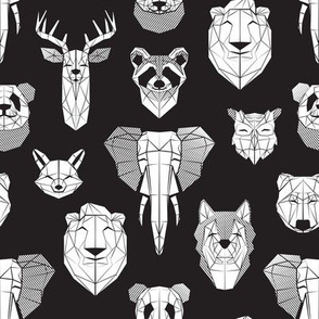 Friendly Geometric Animals // small scale // black background white deers bears foxes wolves elephants raccoons lions owls and pandas