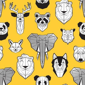 Friendly Geometric Animals // small scale // sunglow yellow background black and white deers bears foxes wolves elephants raccoons lions owls and pandas