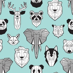 Friendly Geometric Animals // small scale // aqua background black and white deers bears foxes wolves elephants raccoons lions owls and pandas