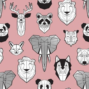 Friendly Geometric Animals // small scale // blush pink background black and white deers bears foxes wolves elephants raccoons lions owls and pandas