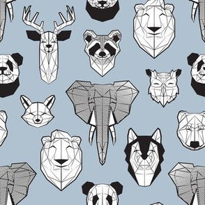 Friendly Geometric Animals // small scale // pale blue background black and white deers bears foxes wolves elephants raccoons lions owls and pandas