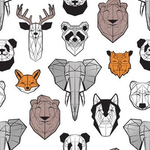 Friendly Geometric Animals // small scale // white background black and white orange grey and taupe brown deers bears foxes wolves elephants raccoons lions owls and pandas