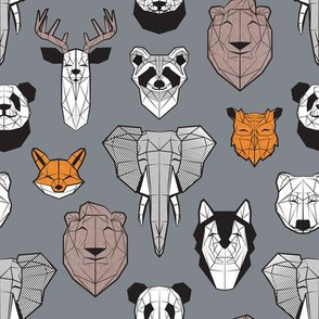 Friendly Geometric Animals // small scale // grey background black and white orange grey and taupe brown deers bears foxes wolves elephants raccoons lions owls and pandas