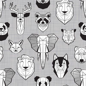 Friendly Geometric Animals // small scale // grey linen texture background black and white deers bears foxes wolves elephants raccoons lions owls and pandas