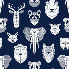 Friendly Geometric Animals // small scale // navy blue background white deers bears foxes wolves elephants raccoons lions owls and pandas