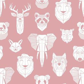 Friendly Geometric Animals // normal scale // blush pink background white deers bears foxes wolves elephants raccoons lions owls and pandas