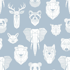 Friendly Geometric Animals // normal scale // pastel blue background white deers bears foxes wolves elephants raccoons lions owls and pandas
