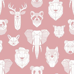 Friendly Geometric Animals // small scale // blush pink background white deers bears foxes wolves elephants raccoons lions owls and pandas