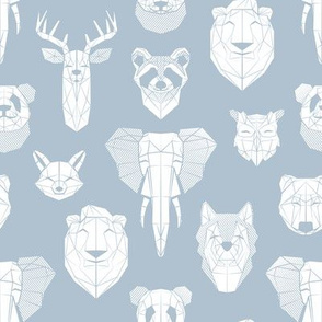Friendly Geometric Animals // small scale // pastel blue background white deers bears foxes wolves elephants raccoons lions owls and pandas