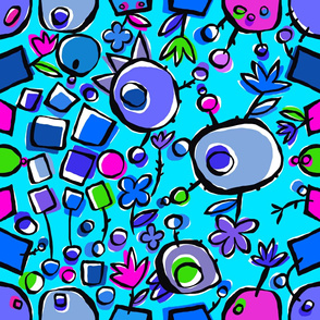 bombom and flowers - turquoise