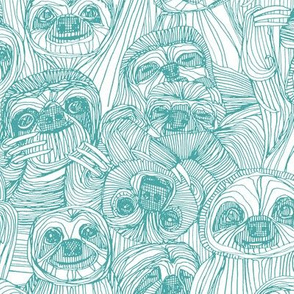 just sloths teal white