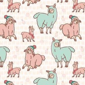 Pastel colors cartoon alpaca llama family