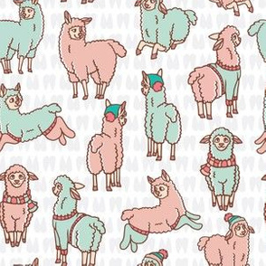 Pastel colors cartoon alpaca llamas herd