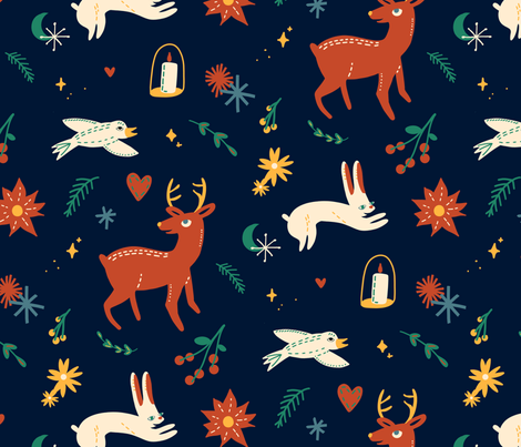 Handmade Holiday - Blue fabric by thinkmakedesign on Spoonflower - custom fabric