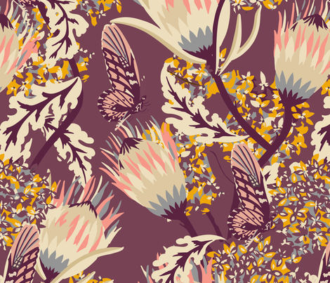 ZARAH MULBERRY BUTTERFLY fabric by holli_zollinger on Spoonflower - custom fabric