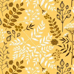 Floral Block Print yellow