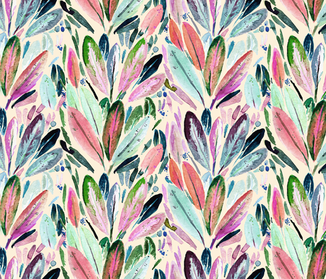 Feather leaves Cream fabric by crystal_walen on Spoonflower - custom fabric