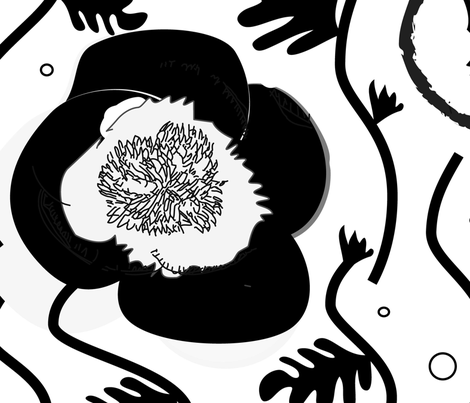Black and White floral wallpaper fabric by pixabo on Spoonflower - custom fabric