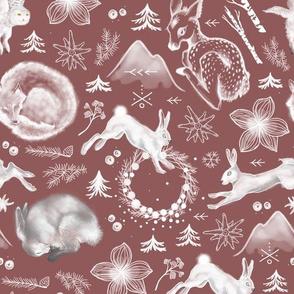 Winter Fauna / Burgundy