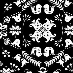 Scandi garden white on black