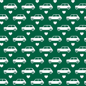 Mini Cooper Hearts - Dark Green - Small